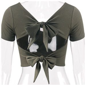 Green back bow open back crop top